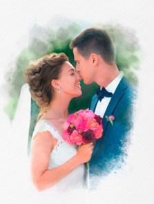 Пример портрета под акварель со свадьбы в СПб