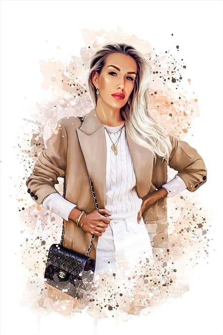 Пример бьюти-арт портрета деловой женщины по фото на заказ