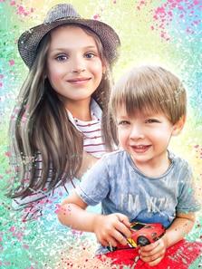 Портрет девочки в шляпе и мальчика в стиле Дрим-Арт