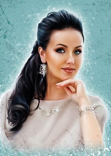 Портрет девушки на нежном голубом фоне в стиле Дрим-Арт