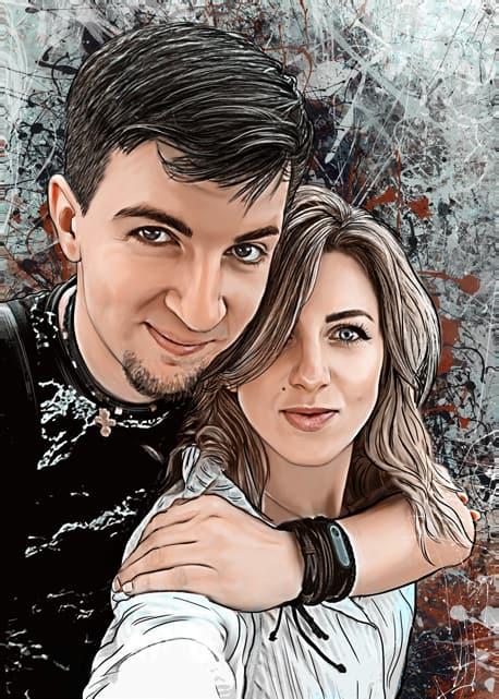 Портрет пары по фото на телефон в стиле Дрим-Арт