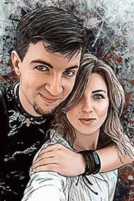 Пример портрета в стиле Дрим-Арт по фотографии влюбленной пары из Москвы