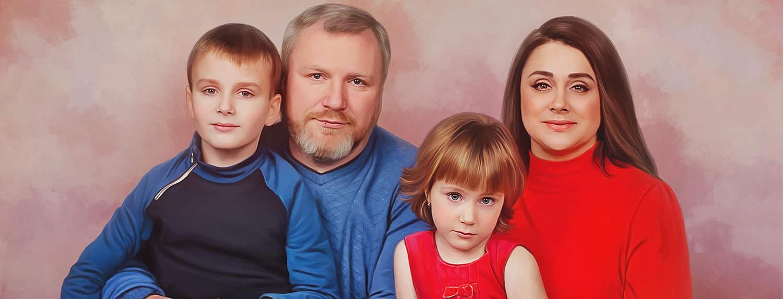 Портрет семьи из четырех человек