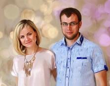 Портрет пары под масло