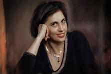 Портрет женщины с темными короткими волосами под живопись маслом