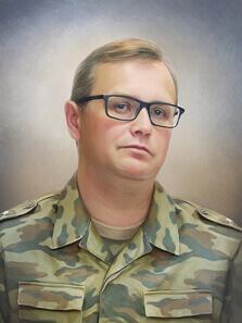 Портрет военного под масло в технике сухая кисть