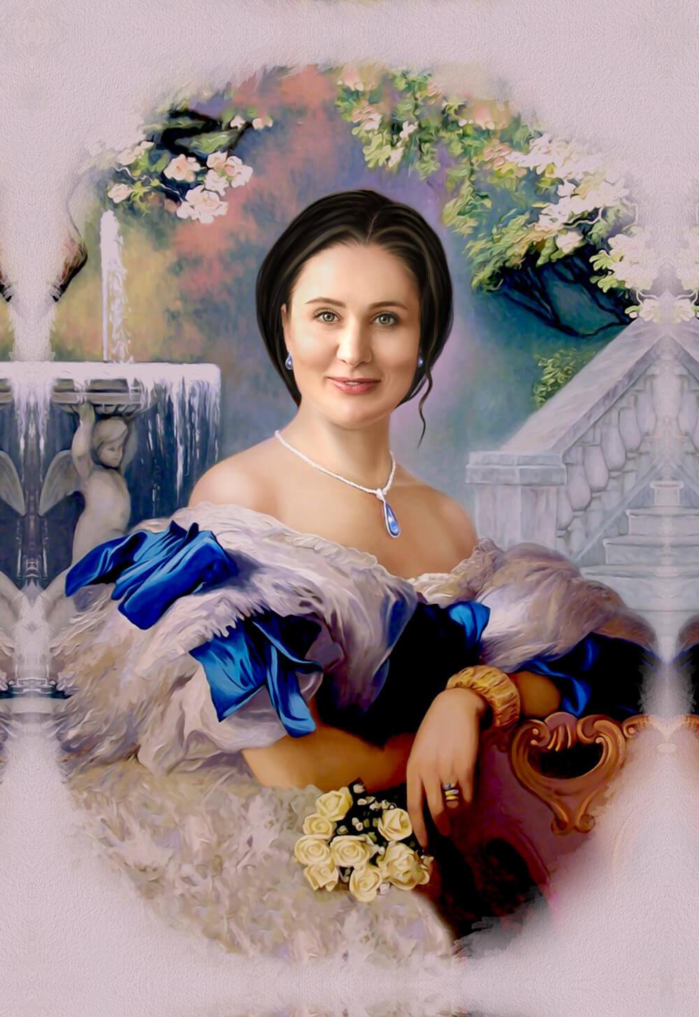 удобства портрет по фото на холсте женский угрюмый