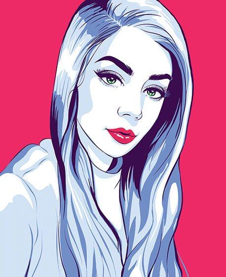 Пример поп-арт портрета в стиле Че девушки блондинки на малиновом фоне по фото на заказ