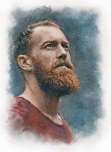 Портрет молодого человека с бородой в акварельном стиле