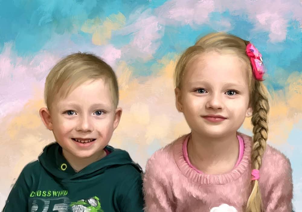 Портрет мальчика и девочки живописью под масло