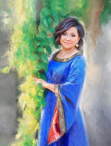 Портрет маслом женщины на фоне зелени