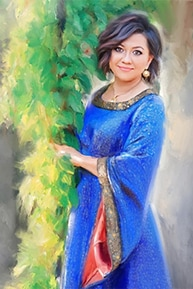 Пример картины под живопись маслом по фото женщины на фоне зелени