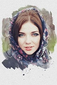 Пример портрета под акварель по фотографии девушки из Москвы