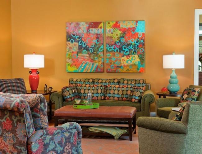 Яркая модульная картина на холсте для украшения интерьера