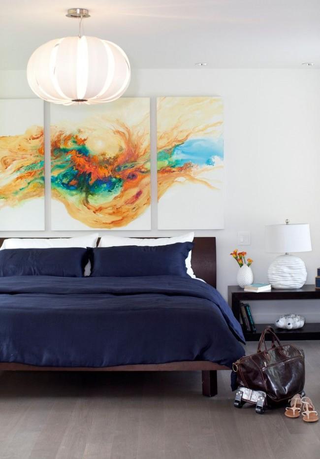 Триптих с абстракцией в спальне, модульная картина для интерьера