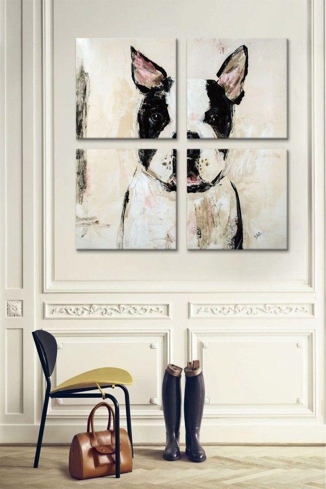 Модульная картина, на холсте, картина с собакой, для интерьреа